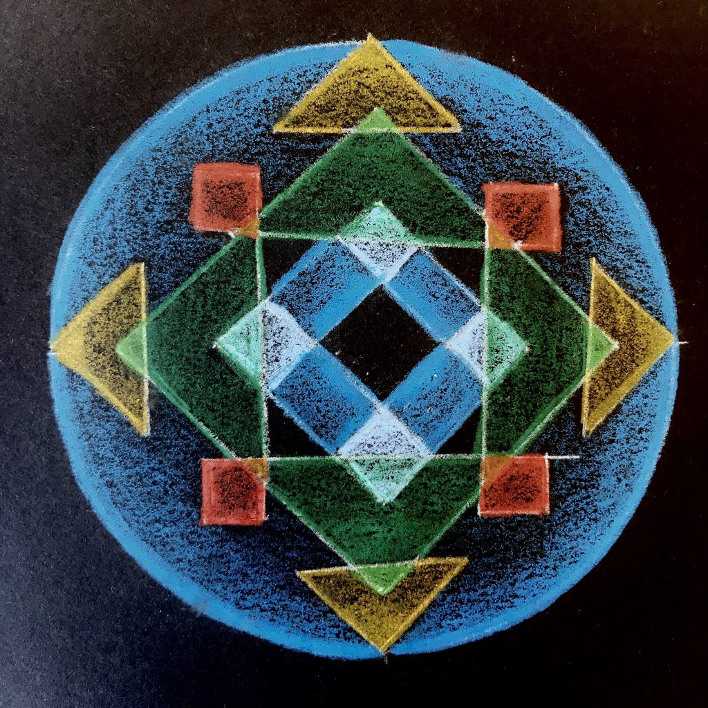 mandala on black paper. A blue background with overlapping triangles, squares, and diamonds in yellow, orange, green and white.