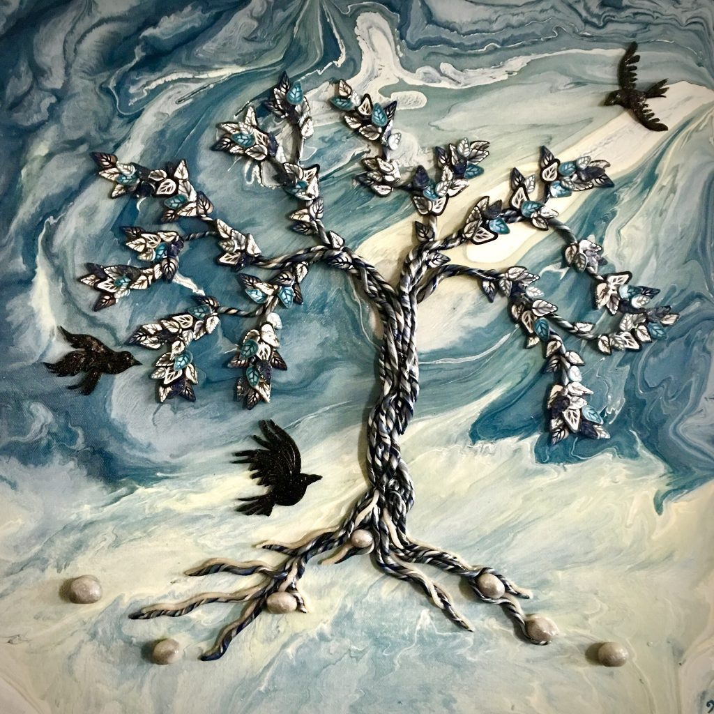 Blue and White Acrylic background. Polymer tree in blue, white, and gray. 3 ravens fly past. Original artwork by Anna Loscotoff.