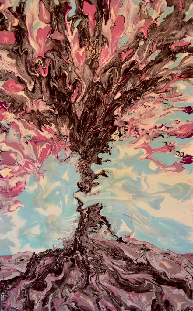 Tree with pink leaves, a light blue background.