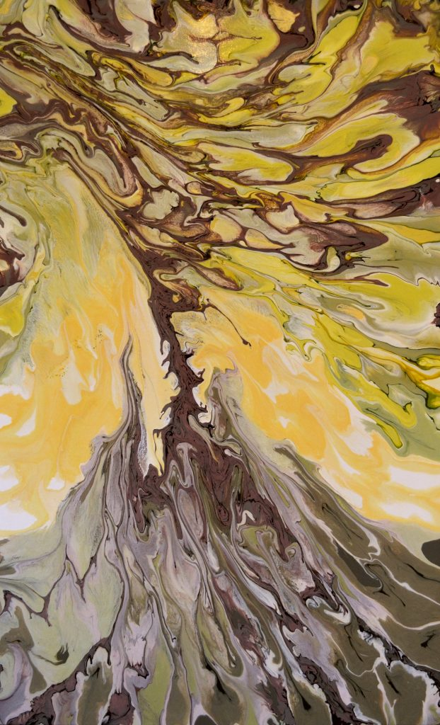An oak, being pulled by the wind. The leaves are in browns and yellows. The sky is yellow. The base is deep green and brown. Original artwork by Anna Loscotoff.