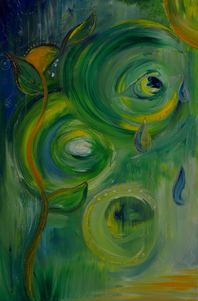 Green, Blue, and Yellow background with images in the circles of paint.  One circle contains an eye, another a face.  A yellow flower blooms on the left.