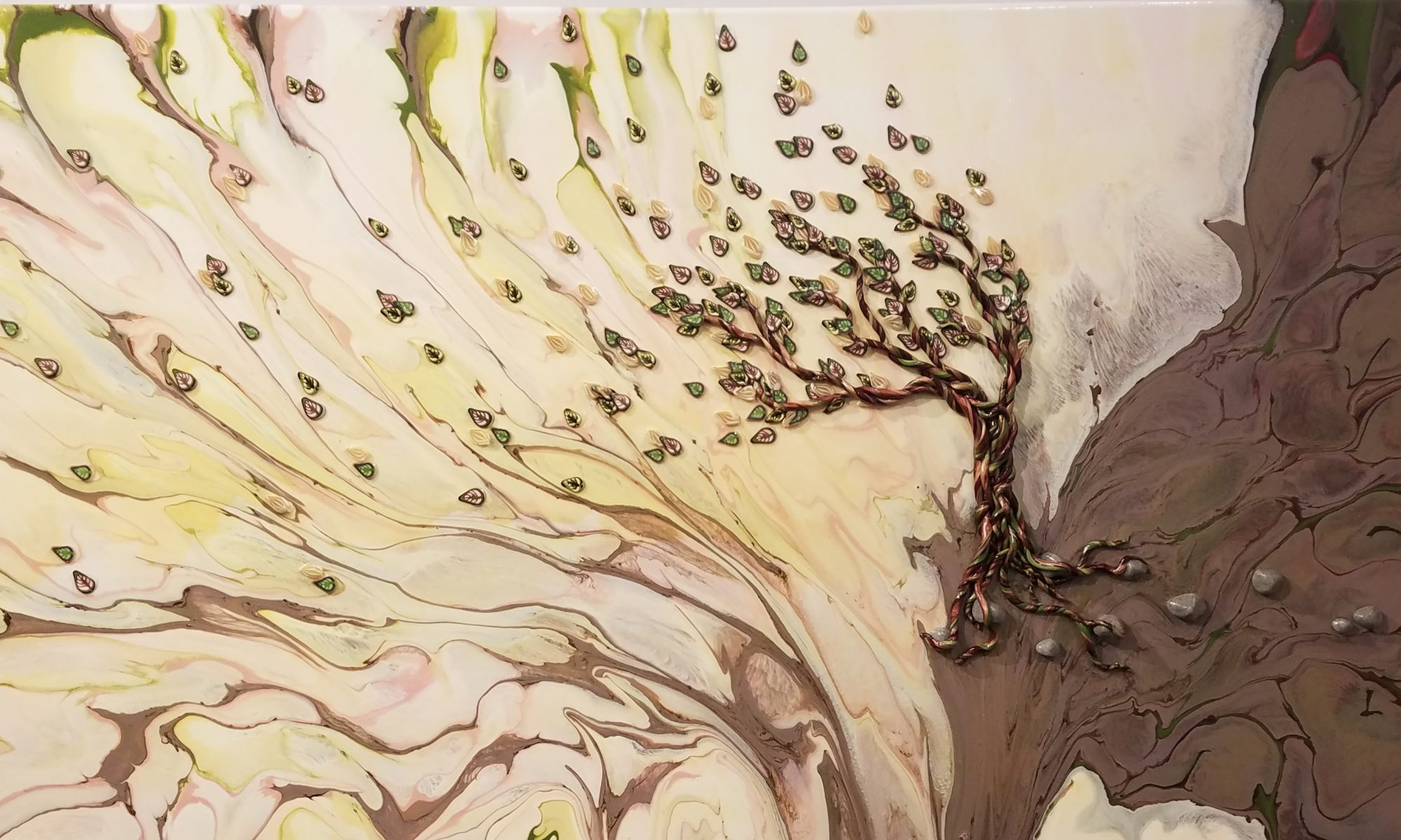 A tree sits on a brown cliff. The cliff and sky (in pale green and pink) are painted in acrylic. A polymer tree with leaves in green and pink appears to be blowing in the wind with leaves fluttering to the left. Original artwork by Anna Loscotoff.