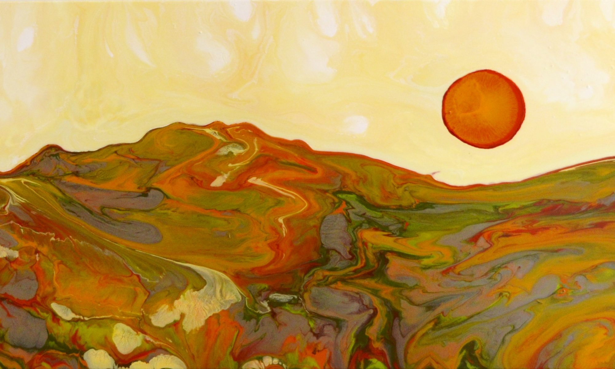 A landscape in oranges and greens with a yellow sky. A red giant sun floats in the sky with a white-blue moon off to the left. Original artwork by Anna Loscotoff.