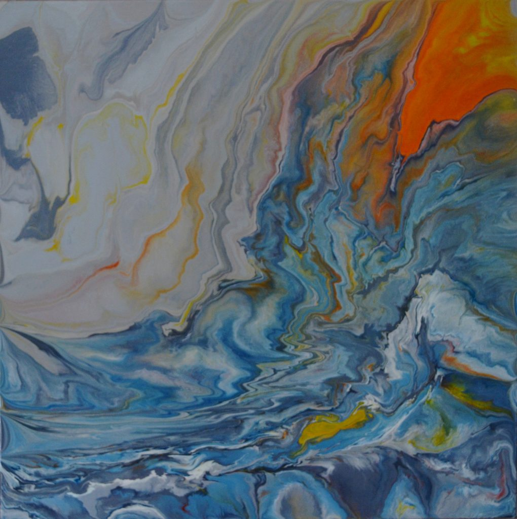 Original art by Anna Loscotoff. A blue ocean with bright orange lava running in.