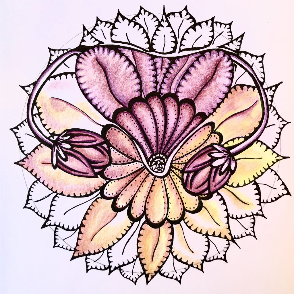 Mandala on white paper. A flower with two buds, colored in pinks, oranges and yellows.