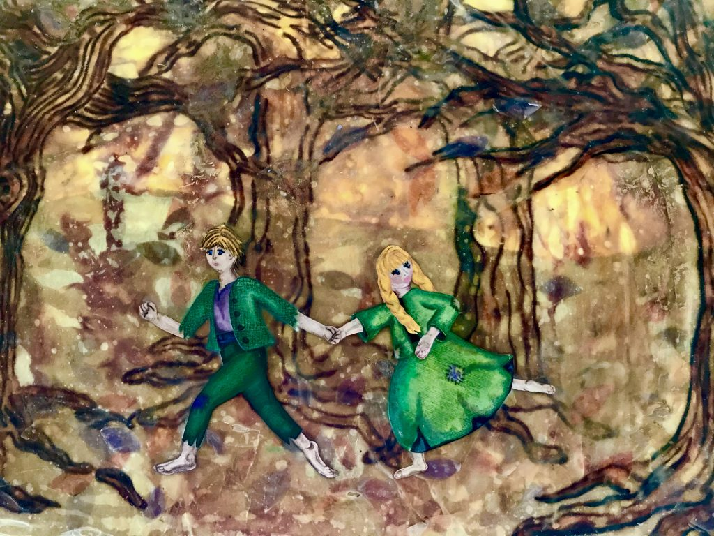Mixed media by Anna Loscotoff. Hansel and Gretel running through the woods. Encaustic with silk, paper, pen, colored pencils.