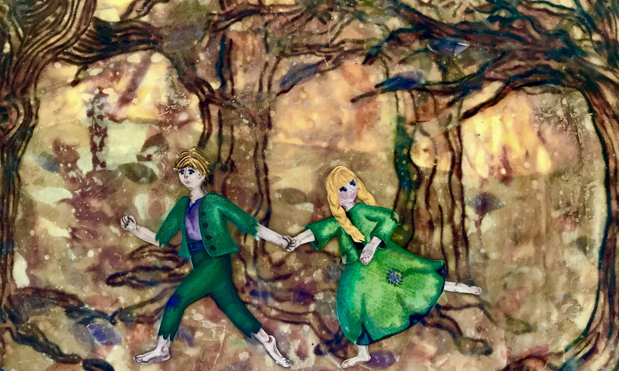 Hansel and Gretel running through the woods. Encaustic with silk, paper, pen, colored pencils. Original mixed media by Anna Loscotoff.
