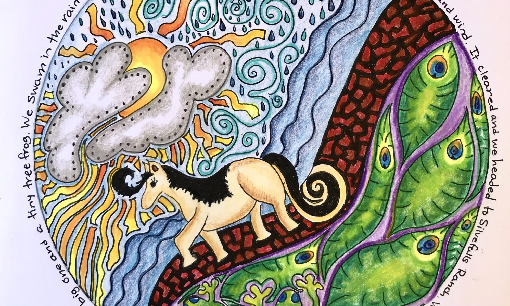 Original mandala drawing of a horse riding trip in Hawaii. A horse walks along a dirt path with sun and ocean in the background. Original artwork by Anna Loscotoff.