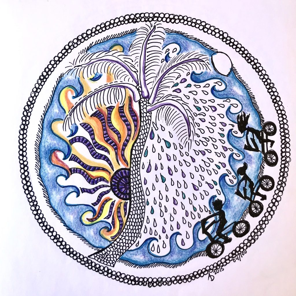 Mandala on white paper. 3 silhouettes, a mother, father and daughter, ride bikes in front of ocean waves.