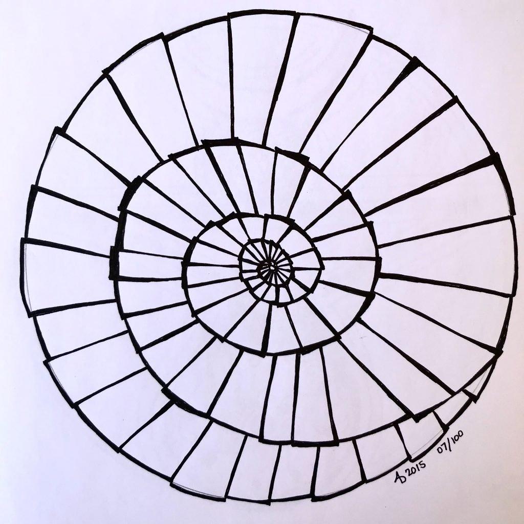 Mandala on white paper. Black and white spiral stair steps.