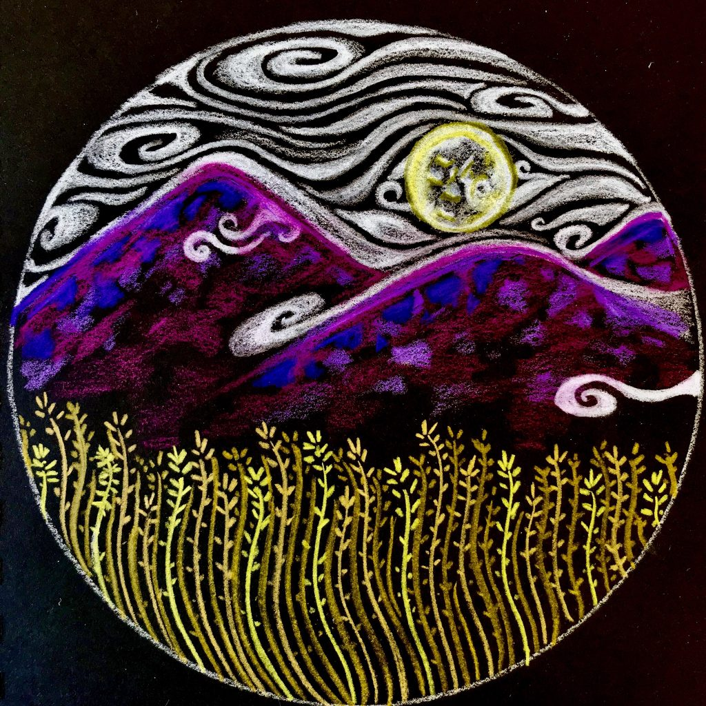 Mandala on black paper. A landscape. Yellow grain grows at the bottom, with purple hills rising behind. The sun, shrouded in fog as it rolls over the hills. Original artwork by Anna Loscotoff.