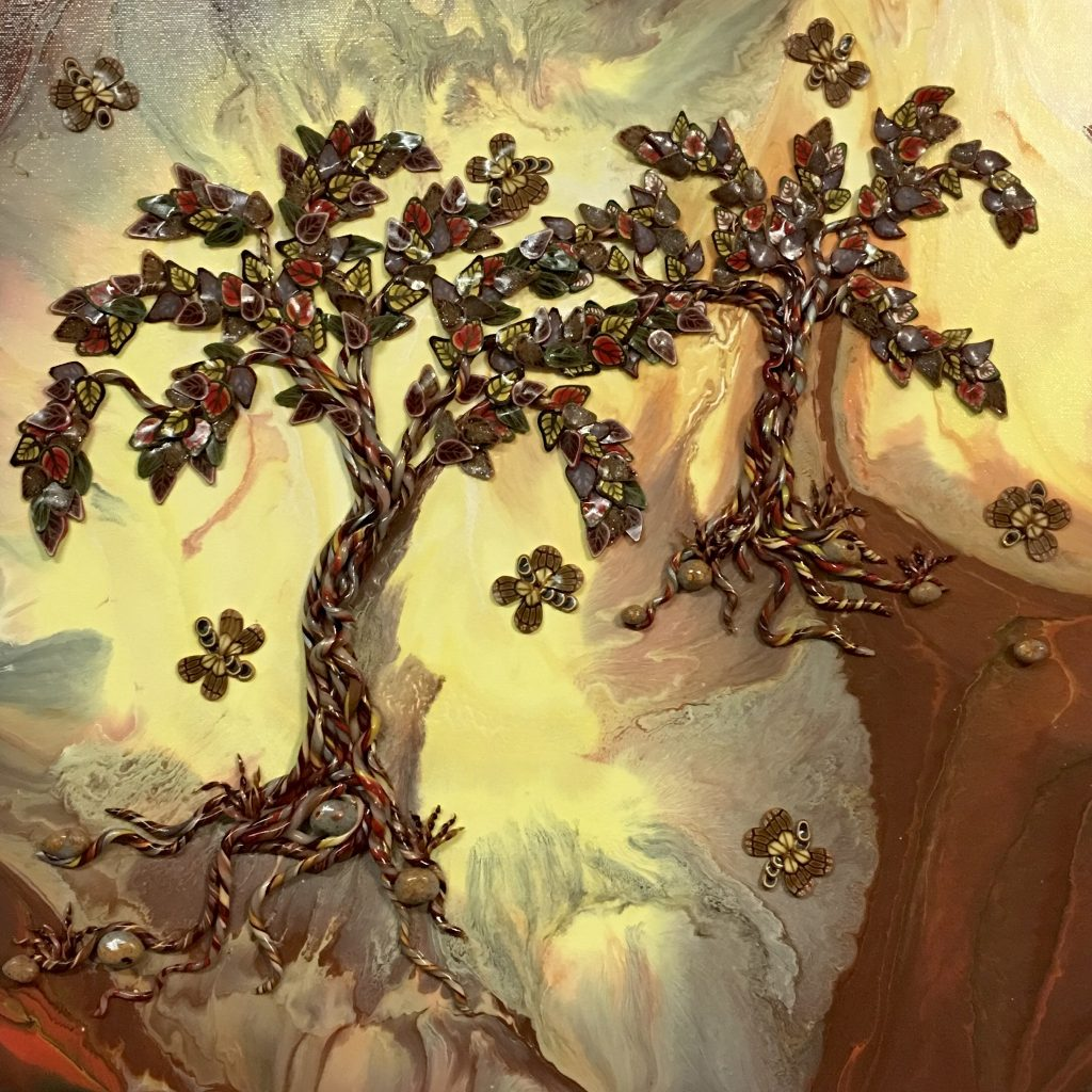 Original art by Anna Loscotoff. Trees created in polymer clay in a gold and brown fantasy landscape.