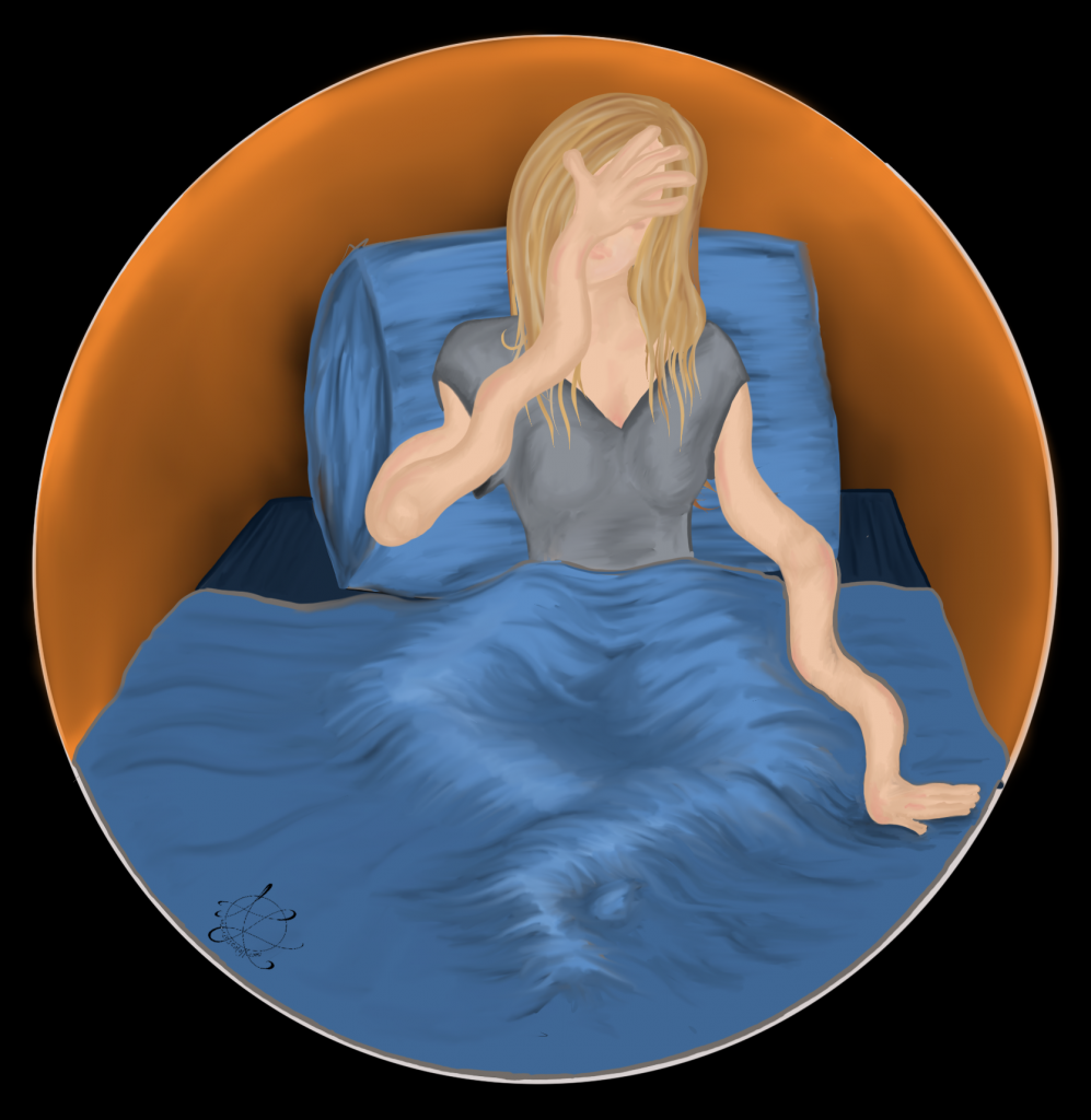 Original Mandala by Anna Loscotoff. Drawing of experience with Complex Nocturnal Visual Hallucinations, drawn on Procreate. Image of woman with blonde hair dreaming her arms are too long. She's sitting in blue bed with orange light in background. 2020.