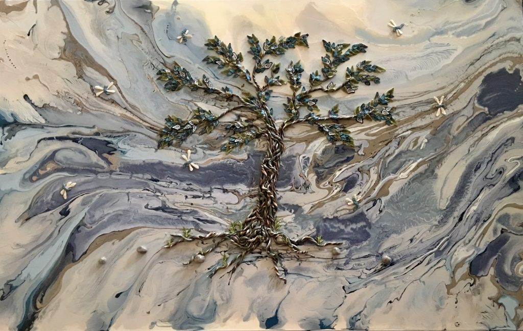A polymer tree in blue, green and brown stands in front of a swirling background of blue, white and brown. Original art by Anna Loscotoff.