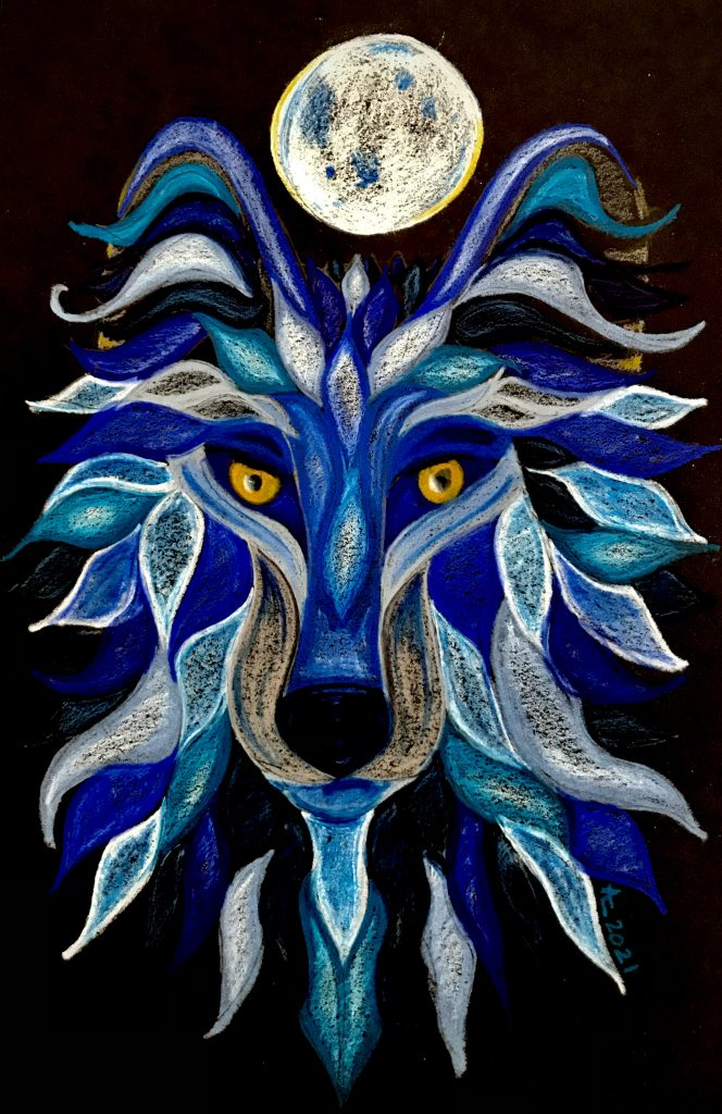 A wolf original drawing in blues and white with bright yellow eyes. A moon sit over the wolf's head. Original drawing by Anna Loscotoff, 2021.